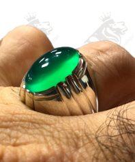 A-131 انگشتر عقیق سبز دست ساز