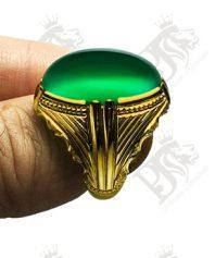 A-1140 انگشتر عقیق سبز زیتونی