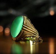 انگشتر عقیق سبز طبیعی کهنه A-1160