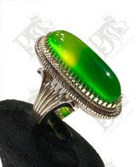 A-1088 انگشتر عقیق سبز کهنه پایه فدیوم سه تیکه
