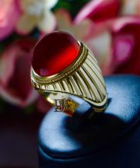 انگشتر عقیق سرخ یمنی طلای سوئیسی