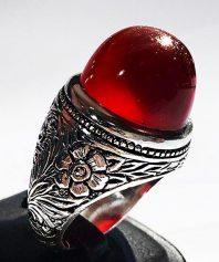 انگشتر تمام قلم بی نظیر و کلکسیونی مرحوم میرزا جعفر قدیمیان با عقیق سرخ یمنی کهنه A-575