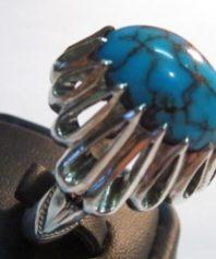 انگشتر دست ساز فیروزه خوش رنگ