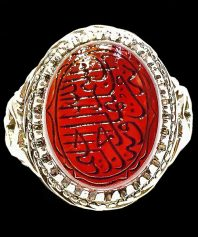 انگشتر عقیق سرخ یمنی با خط زیبای استاد رحیمی و پایه فدیوم استاد اکبری A-435