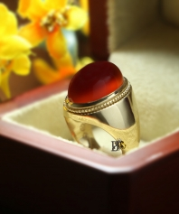 انگشتر عقیق سرخ یمنی تمام طلا