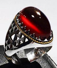 انگشتر عقيق سرخ با پایه فدیوم