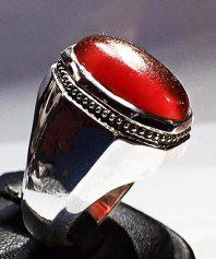 انگشتر عقيق سرخ تراشدار سبطي