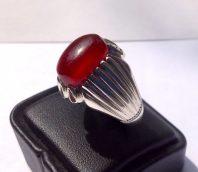 انگشتر فدیوم عقیق سرخ تراشدار قطعی A-192