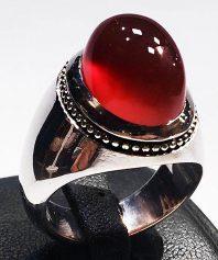 انگشتر عقيق سرخ يمنی طوقدار