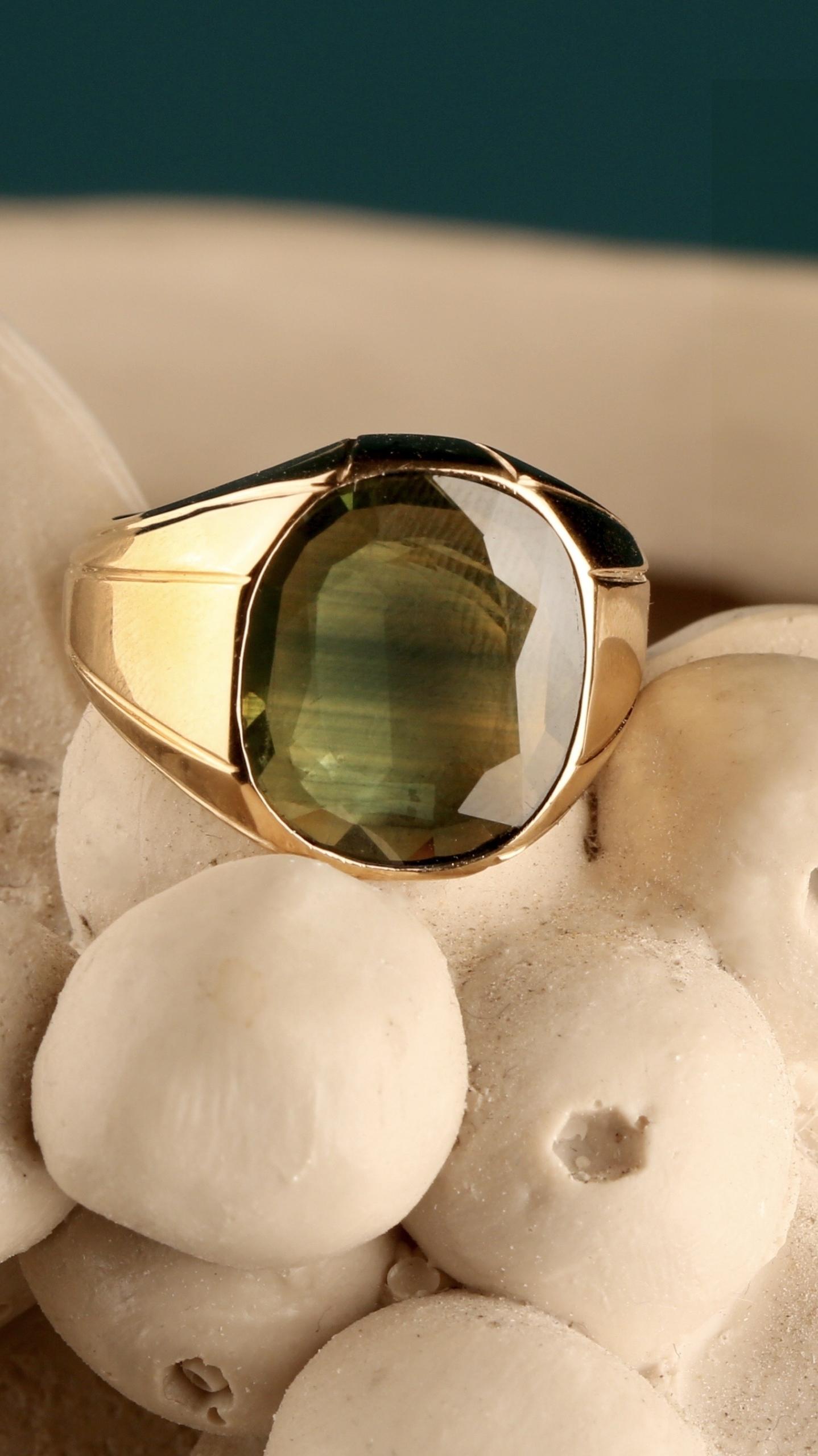 Y-81 انگشتر یاقوت سبز معدنی با پایه تمام طلای دست ساز