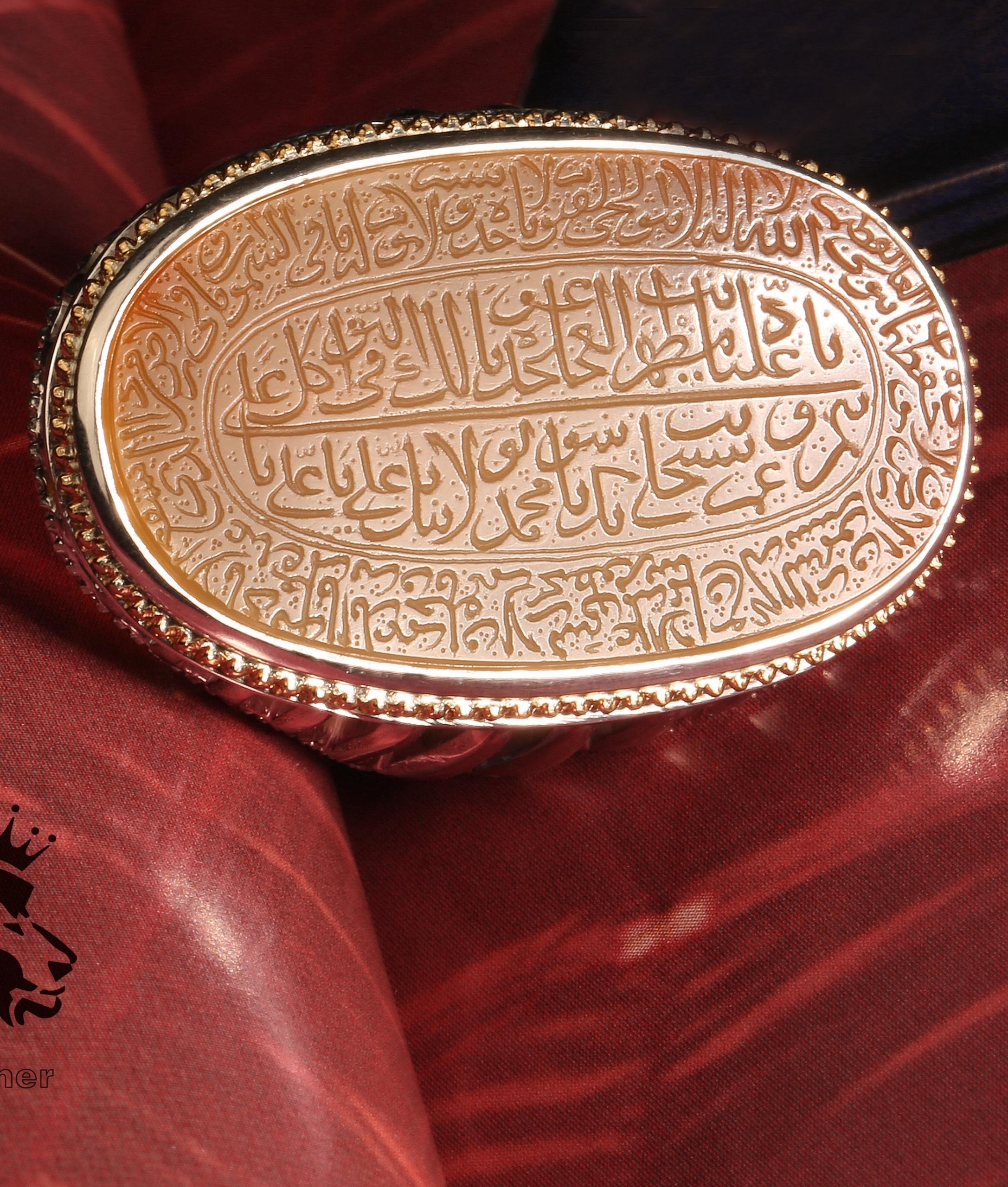 A-1408 انگشتر کوپال کهنه عقیق یمنی و پایه فدیوم ستونی