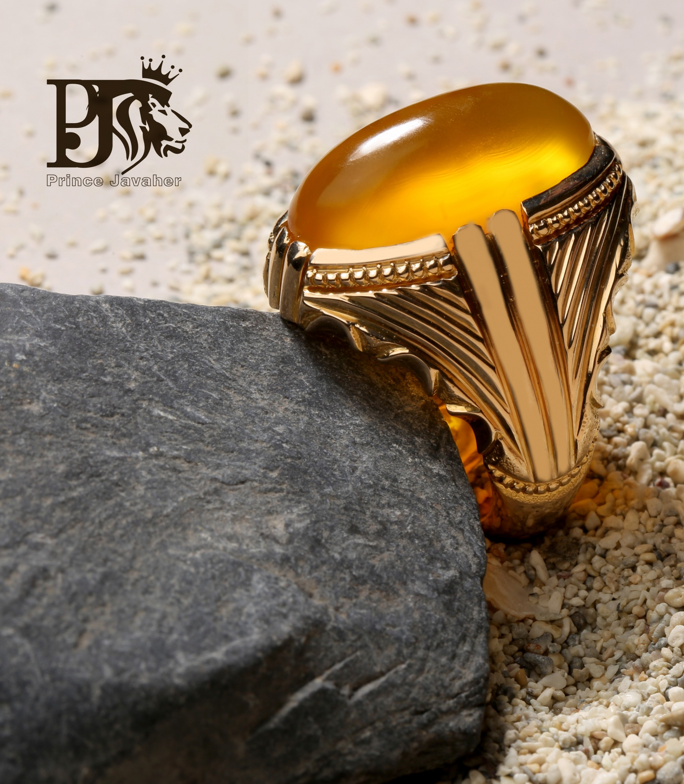 A-1418 انگشتر عقیق زرد یمنی کهنه با پایه تمام طلا