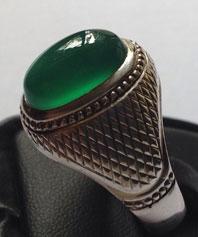 انگشتر فدیوم عقیق سبز آبدار خسروی  A-131