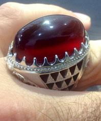 انگشتر دست ساز عقیق سرخ بسیار درشت A-157