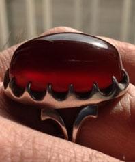 انگشتر عقیق سرخ طوقدار یمنی A-88