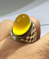 A-716 انگشتر عقیق زرد شطرنجی