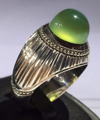 A-705 انگشتر عقیق سبز صدری