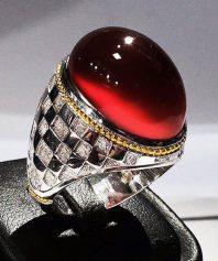 A-692 انگشتر عقیق سرخ شطرنجی