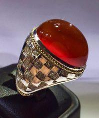 A-707 انگشتر عقیق شطرنجی گوارسه طلا