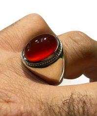انگشتر عقيق سرخ كهنه ابدار طوق دار