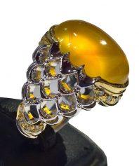 A-733 انگشتر عقیق زرد پولکی