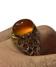 انگشتر عقيق زرد يمني آبدار