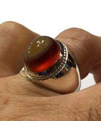 A-796 انگشتر عقیق سرخ یمنی سه پوست فدیوم