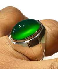 A-816 انگشتر عقیق سبز با رنگ و طبعی استثنایی