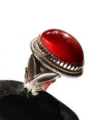 انگشتر عقيق سرخ يمني زیبا