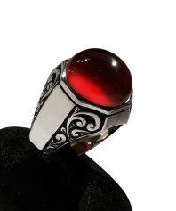 A-901 انگشتر عقیق سرخ با قلم زنی حرفه ای