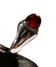 انگشتر عقيق سرخ با پایه نقره