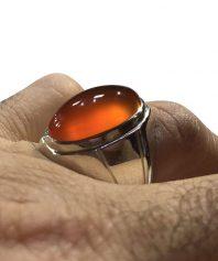 A-925 انگشتر عقیق نارنجی بینهایت ابدار لامپی