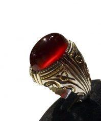 انگشتر عقيق سرخ يمني بدون ناخالصی