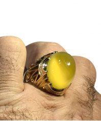 انگشتر عقيق زرد كهنه ابدار طوقدار