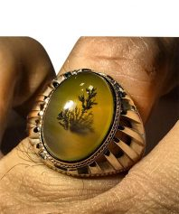 انگشتر عقيق كهنه زيتوني رنگ با پديده شجر زيبا