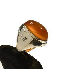 A-990 انگشتر عقیق پرتقالی کهنه درشت بینهایت ابدار
