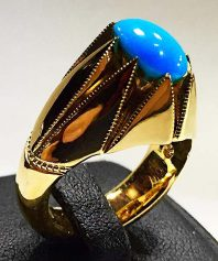 انگشتر فیروزه عجمی نیشابوری رنگ محک بسیار خوش طبع با پایه تمام طلا F-75 (فروخته شد)
