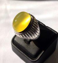 انگشتر دست ساز فدیوم با نگین یمنی زرد بی نظیر A-218 فروخته شد