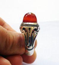 انگشتر دست ساز بی عیب و نقص با نگین عقیق سرخ یمنی طوقدار A-215