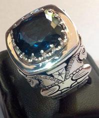انگشتر خوش رنگ و خوش تراش توپاز آبی  TOPAZ-5