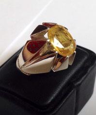 انگشتر دست ساز فدیوم یاقوت زرد   Y-38