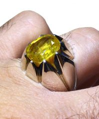 انگشتر یاقوت زرد مدل 8 چنگ