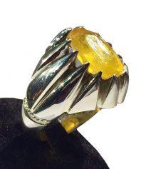 انگشتر یاقوت زرد طبیعی بسیار خوش طبع