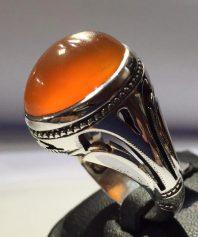 A-16 انگشتر عقیق پرتقالی با پایه نقره